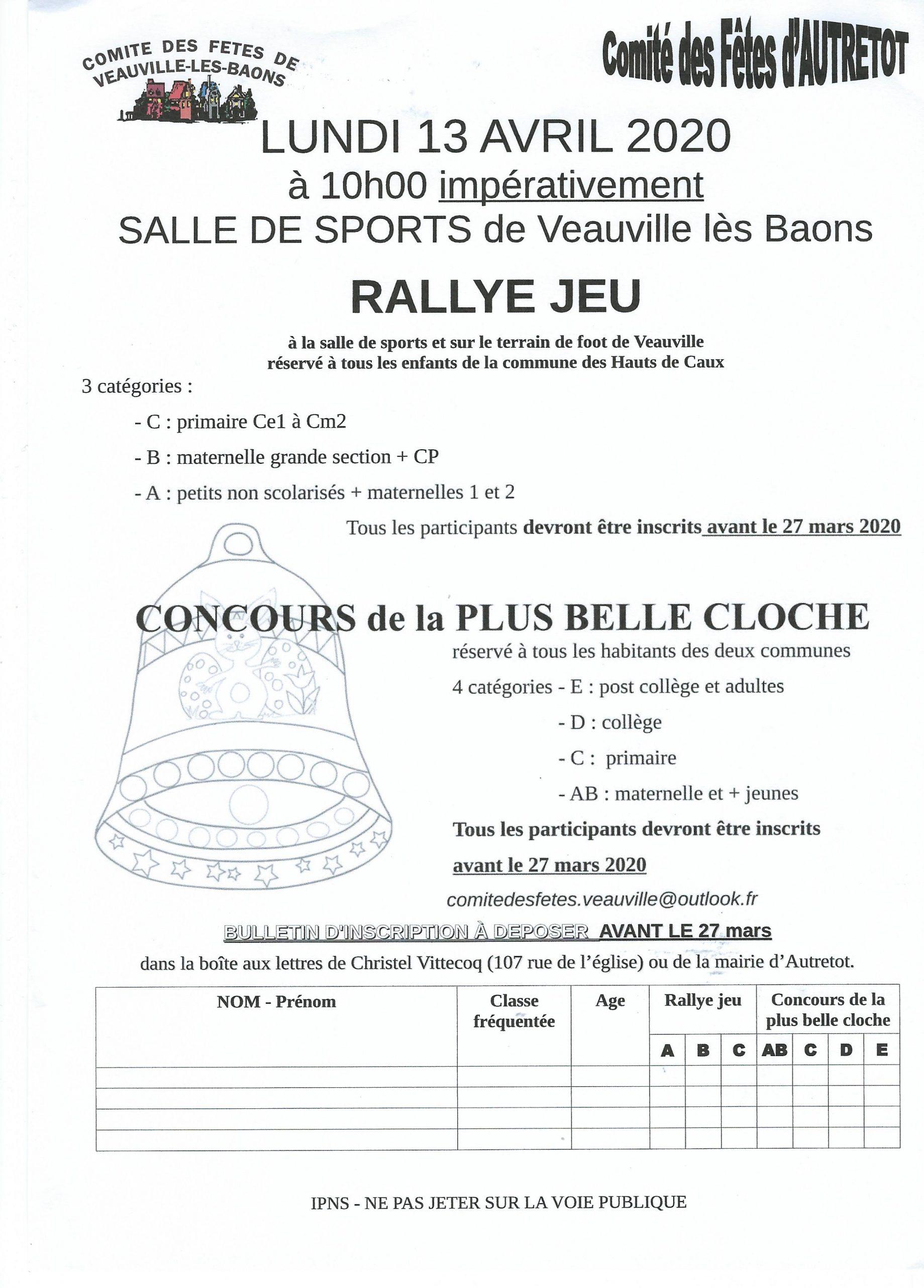 Pâques : Rallye - Jeux - Comité des Fêtes @ Salle de Sport de Veauville-les-Baons