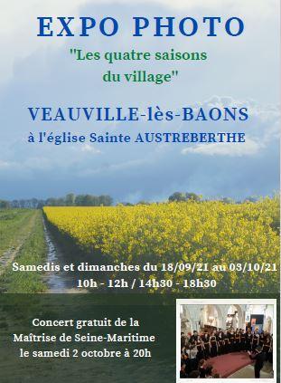 Exposition photos et aquarelles : les samedis & dimanches du 18 septembre au 3 octobre @ Eglise : Veauville-les-Baons
